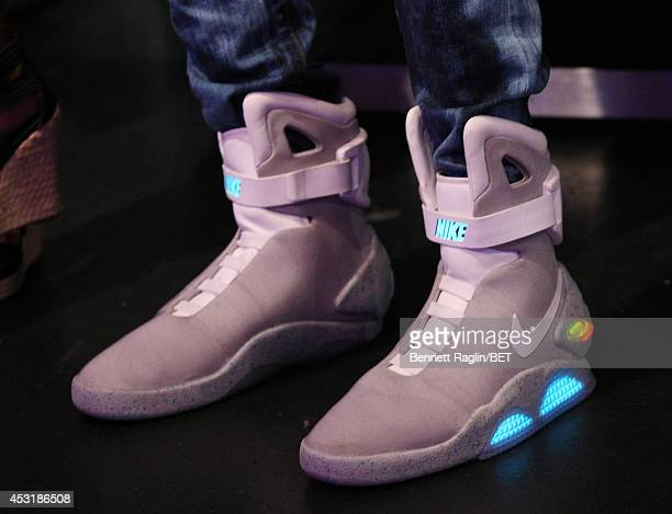 A general view of the a audience members Nike Back to the Future sneakers 106 Park at BET studio on August 4 2014 in New York City