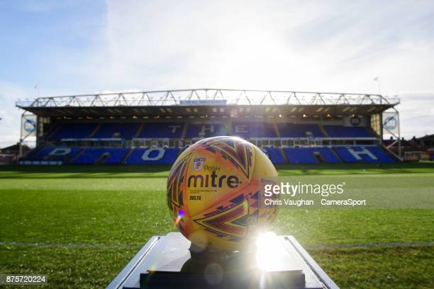 A general view of the ABAX Stadium home of Peterborough United FC showing a yellow official EFL Mitre Delta match football prior to the Sky Bet...