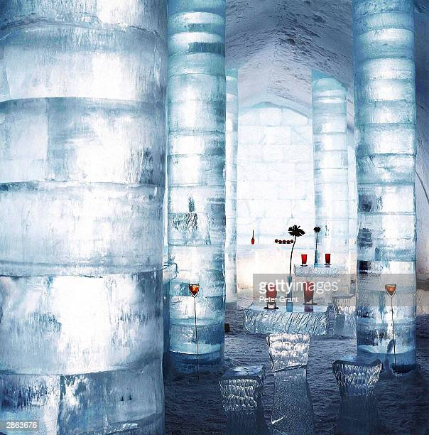 A general view of the Absolut Ice Bar at the Ice Hotel January 2002 in Jukkasjarvi Sweden The 30 000 square foot hotel is constructed anew every year...