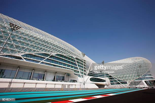 A general view of the Abu Dhabi track with the futuristic Yas Hotel in the background during previews to the Abu Dhabi Formula One Grand Prix at the...