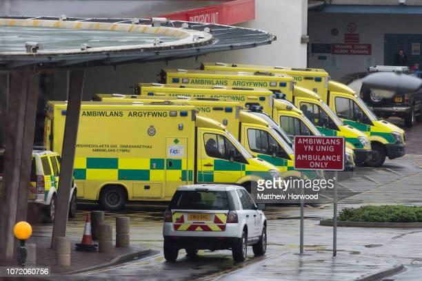 A general view of the accident and emergency department of the University Hospital of Wales known locally as Heath Hospital on February 17 2016 in...