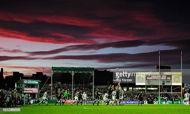 A general view of the acion as the sunsets over Welford road during the Heineken Cup Pool 5 round 3 match between Leicester Tigers and Montpellier at...