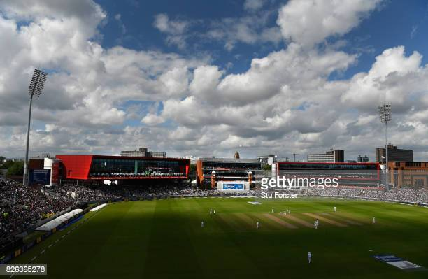 A general view of the action against the backdrop of the newly named James Anderson Stand during day one of the 4th Investec Test match between...