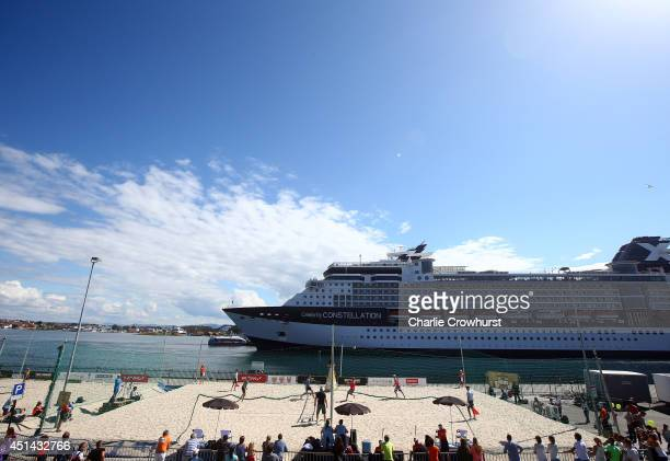General view of the action and a docked cruise ship during day five of the FIVB Stavanger Grand Slam at Stavanger Vagen, on June 28, 2014 Stavanger,...