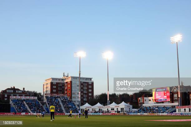 General view of the action as 2,500 spectators fill the ground during the Vitality T20 Blast match between Sussex Sharks and Hampshire Hawks at The...