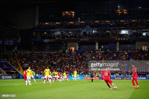 A general view of the action as Ashley Young of England takes a freekick during the 2018 FIFA World Cup Russia Round of 16 match between Colombia and...