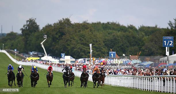 A general view of the action as horses run in The Betfred Supports Jack Berry House at Goodwood racecourse on August 01 2014 in Chichester England