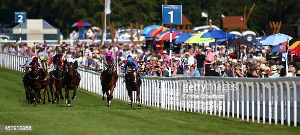 A general view of the action as horses run in The Markel Insurance Maiden Fillies' Stakes at Goodwood racecourse on July 30 2014 in Chichester England