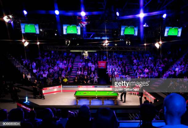 A general view of the action as Kyren Wilson of England takes on Mark Williams of Wales during The Dafabet Masters on Day Five at Alexandra Palace on...