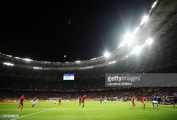 A general view of the action as Mario Balotelli of Italy controls the ball during the UEFA EURO 2012 final match between Spain and Italy at the...