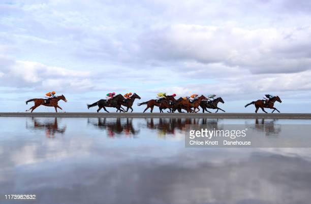 A general view of the action as riders and jockeys take part in the Laytown races on on September 11 2019 in Laytown Ireland