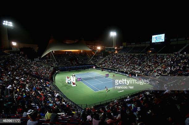 A general view of the action as Simona Halep of Romania plays against Caroline Wozniachi of Denmark during their women's semi final match of the WTA...