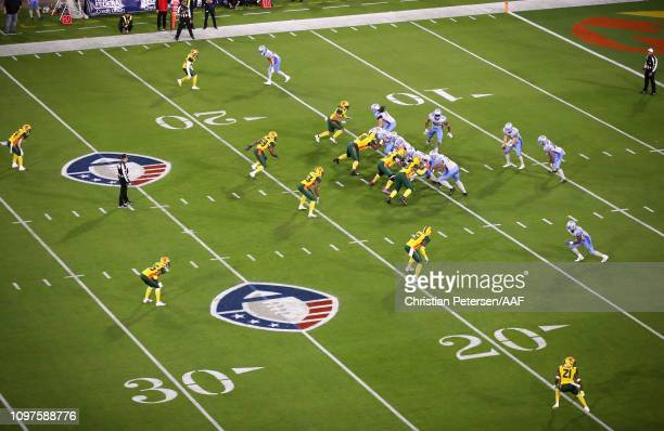 A general view of the action as the Arizona Hotshots play the Salt Lake Stallions in the Alliance of American Football game at Sun Devil Stadium on...