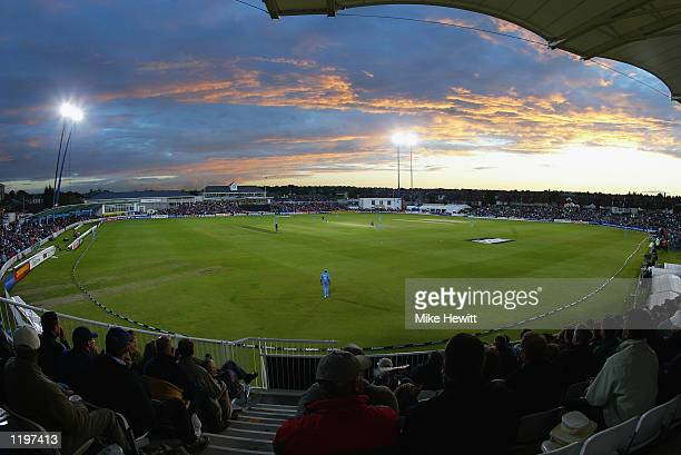 General view of the action as the floodlights come on during the NatWest Series day/night match between India and Sri Lanka at the County Ground in...