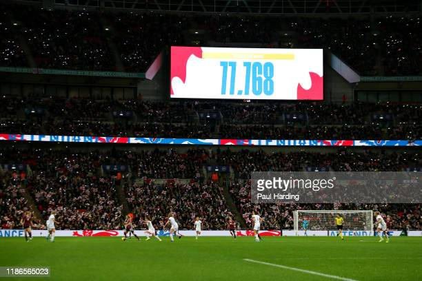 A general view of the action as the record attendance figure of 77 768 is announced on the video screen during the International Friendly between...