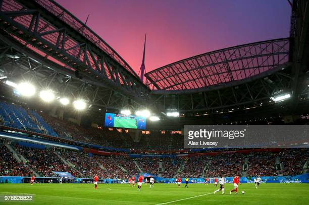General view of the action as the sun sets during the 2018 FIFA World Cup Russia group A match between Russia and Egypt at Saint Petersburg Stadium...