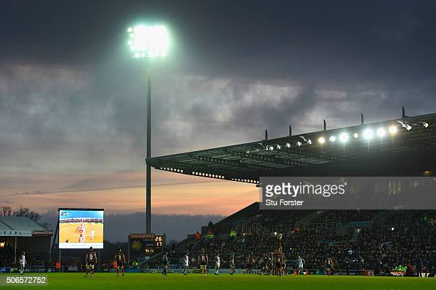 General view of the action as the sunsets during the European Rugby Champions Cup match between Exeter Chiefs and Ospreys at Sandy Park on January...