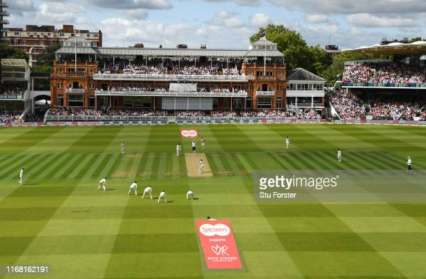 General view of the action at Lords with the Ruth Strauss Foundation pitch logo displayed during Day two of the 2nd Test Match between England and...