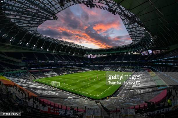 General view of the action at sunset during the Premier League match between Tottenham Hotspur and Manchester United at Tottenham Hotspur Stadium on...