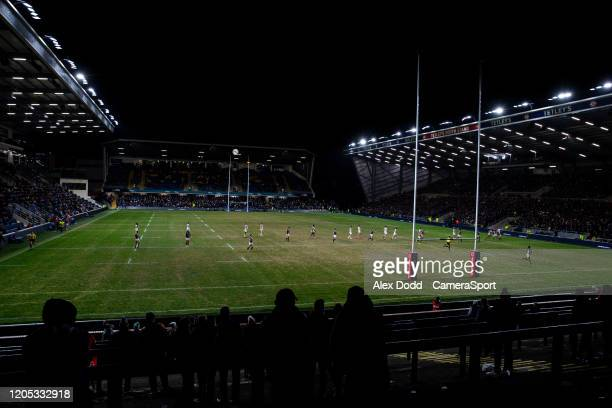 General view of the action at the Emerald Headingley Stadium during the Betfred Super League match between Leeds Rhinos and Toronto Wolfpack at...