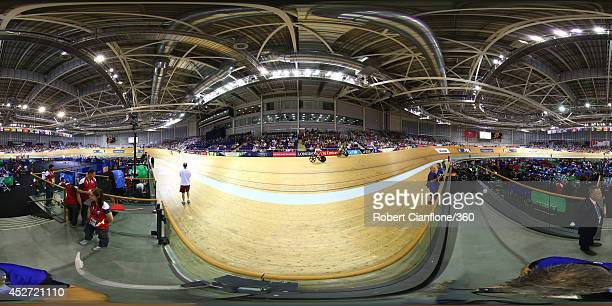 A general view of the action at the Sir Chris Hoy Velodrome during day two of the Glasgow 2014 Commonwealth Games on July 25 2014 in Glasgow United...