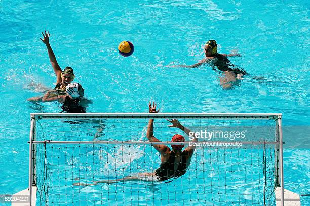 General view of the action at the Womens Water Polo match between Australia and New Zealand during the 13th FINA World Championships at Stadio della...