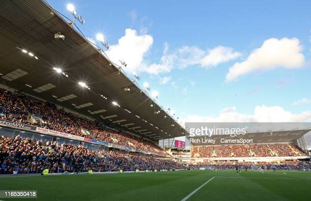 A general view of the action at Turf Moor home of Burnley FC during the Premier League match between Burnley FC and Liverpool FC at Turf Moor on...