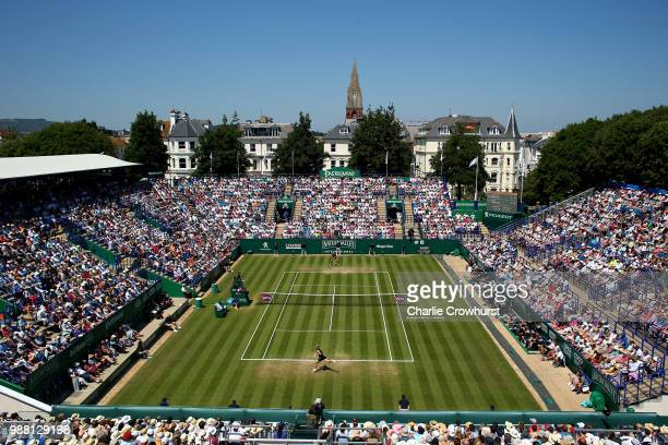 A general view of the action between Aryna Sabalenka of Belarus and Caroline Wozniacki of Denmark in the womens singles final during Day Nine of the...