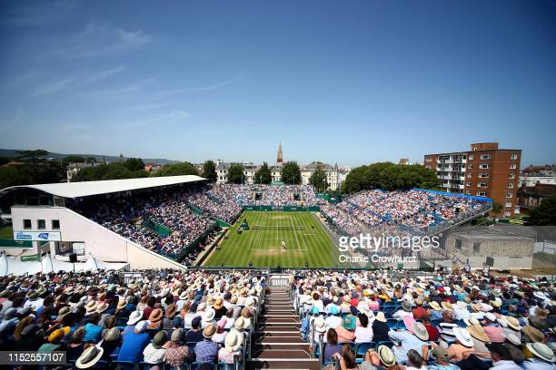 General view of the action between Kiki Bertens of Holland and Karolina Pliskova and Czech Republic during their womens singles semi final match...