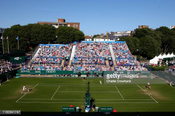 A general view of the action between Kyle Edmund of Great Britain during his men's singles quarterfinal match against Daniel Evans of Great Britain...