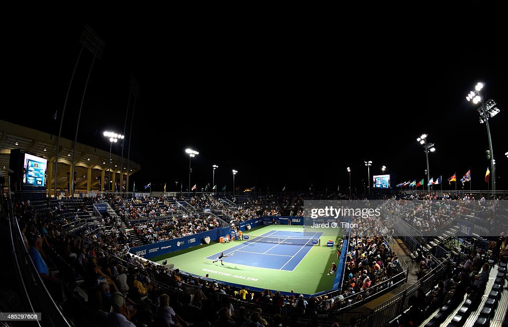 A general view of the action between Steve Johnson and Jo-Wilfried Tsonga of France during the third day of the Winston-Salem Open at Wake Forest University on August 26, 2015 in Winston-Salem, North Carolina.