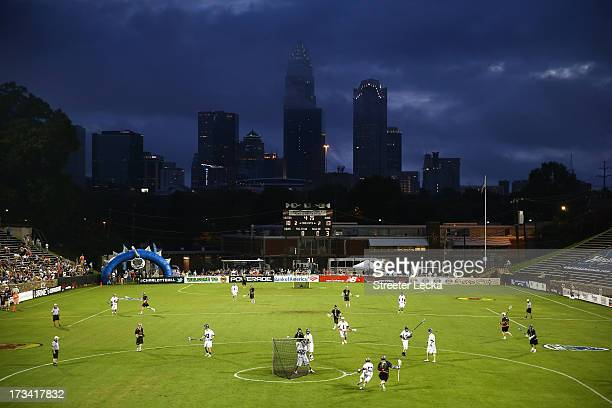 A general view of the action between Supernova and Eclipse during the 2013 Major League Lacrosse All Star Game at American Legion Memorial Stadium on...