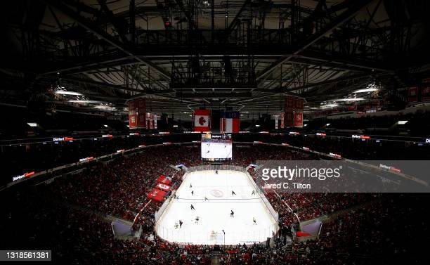 General view of the action between the Carolina Hurricanes and the Nashville Predators during the third period in Game One of the First Round of the...