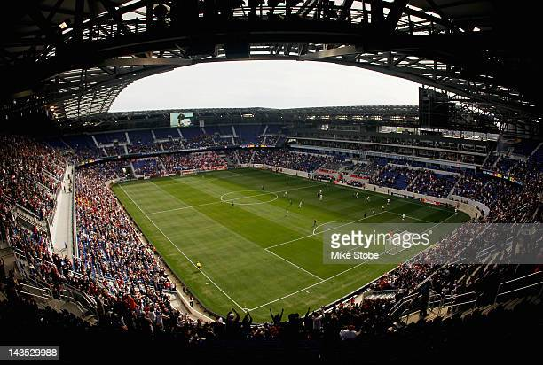 A general view of the action between the New York Red Bulls and the New England Revolution at Red Bull Arena on April 28 2012 in Harrison New Jersey