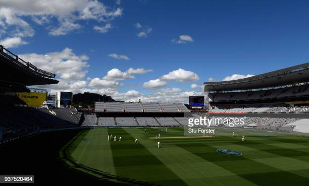 General view of the action during day four of the First Test Match between the New Zealand Black Caps and England at Eden Park on March 25, 2018 in...