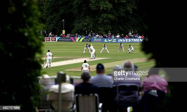 General view of the action during day one of the LV County Championship match between Sussex and Yorkshire at The Arundel Castle Cricket Ground, on...