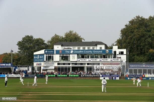 A general view of the action during day three of the Specsavers County Championship Division One match between Essex and Yorkshire at the Cloudfm...