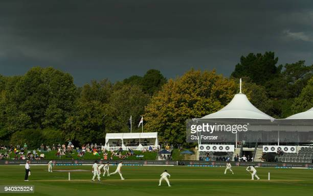 A general view of the action during day two of the Second Test Match between the New Zealand Black Caps and England at Hagley Oval on March 31 2018...