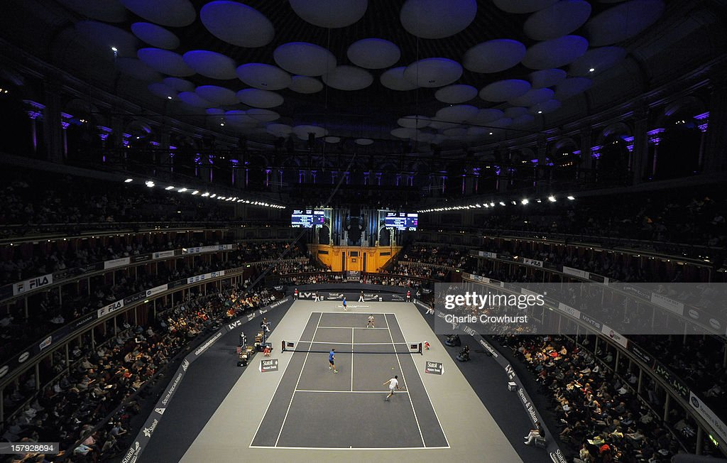 A general view of the action during doubles pair match Tim Henman of England and Thomas Enqvist of Sweden against Carlos Moya of Spain and Fabrise Santoro of France on Day Three of the Statoil Masters Tennis at the Royal Albert Hall on December 7, 2012 in London, England.
