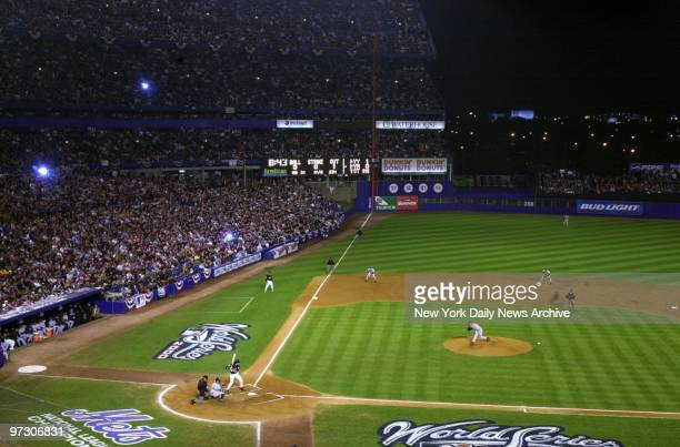 General view of the action during Game 4 of the World Series between the New York Mets and New York Yankees at Shea Stadium The Yankees held on to an...