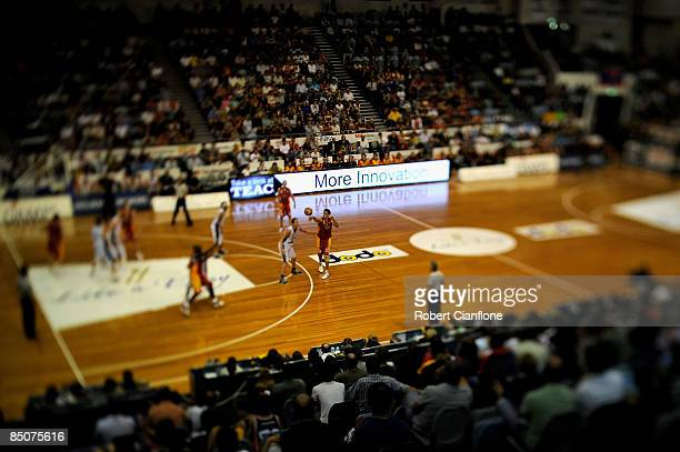 General view of the action during game one of the NBL semi final series between the Melbourne Tigers and the New Zealand Breakers at the State...