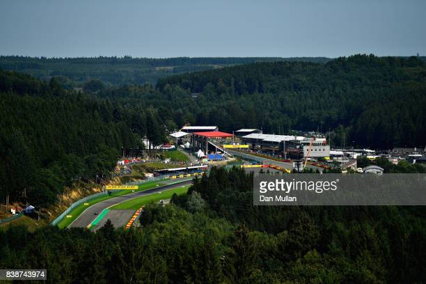 General view of the action during practice for the Formula One Grand Prix of Belgium at Circuit de Spa-Francorchamps on August 25, 2017 in Spa,...