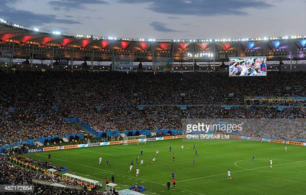 A general view of the action during the 2014 World Cup Final match between Germany and Argentina at Maracana Stadium on July 13 2014 in Rio de...