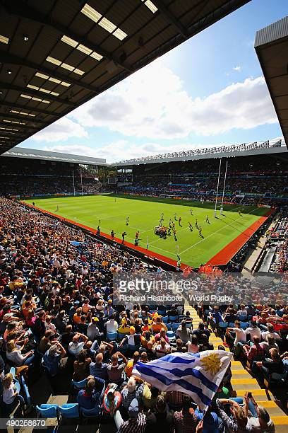 A general view of the action during the 2015 Rugby World Cup Pool A match between Australia and Uruguay at Villa Park on September 27 2015 in...