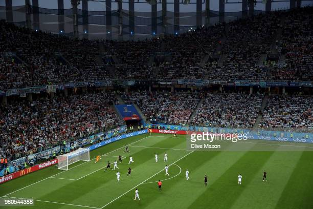 A general view of the action during the 2018 FIFA World Cup Russia group D match between Argentina and Croatia at Nizhny Novgorod Stadium on June 21...