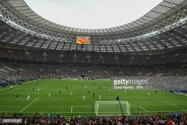 A general view of the action during the 2018 FIFA World Cup Russia Final between France and Croatia at Luzhniki Stadium on July 15 2018 in Moscow...