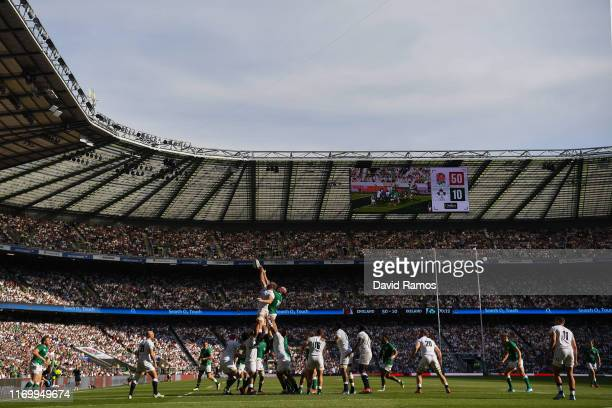 General view of the action during the 2019 Quilter International between England and Ireland at Twickenham Stadium on August 24, 2019 in London,...