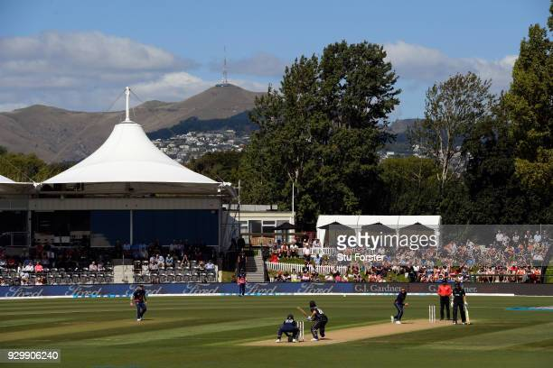 General view of the action during the 5th ODI between New Zealand and England at Hagley Oval on March 10 2018 in Christchurch New Zealand