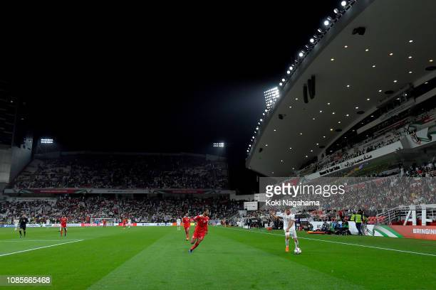 A general view of the action during the AFC Asian Cup round of 16 match between Iran and Oman at Mohammed Bin Zayed Stadium on January 20 2019 in Abu...