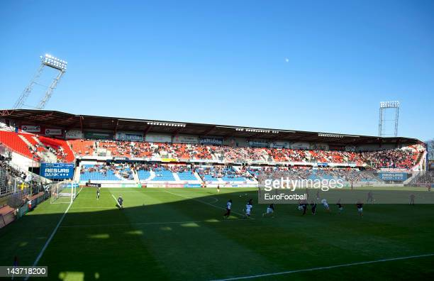 General view of the action during the Allsvenskan League match between Helsingborgs IF and AIK Solna at the Olympia Stadium on May 2,2012 in...